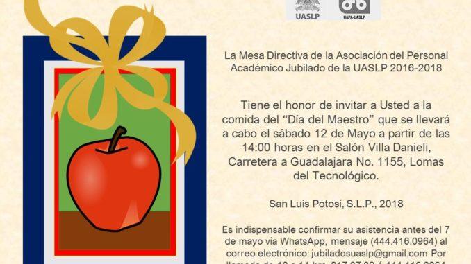 Invitación Comida Día Del Maestro Asociación De Personal
